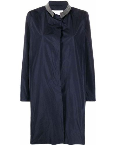 С рукавами синее пальто классическое с воротником Fabiana Filippi
