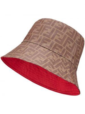 Brązowy kapelusz bawełniany z printem Fendi