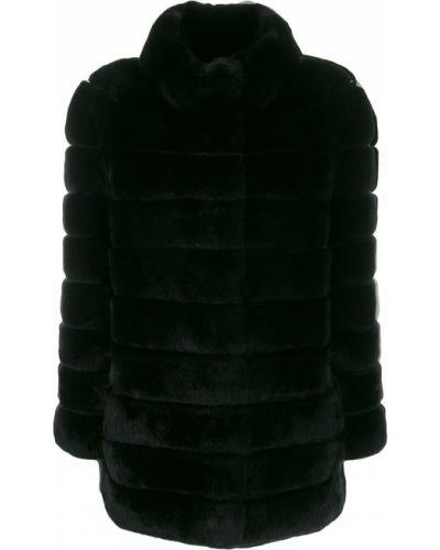 Прямое черное длинное пальто с воротником S.w.o.r.d 6.6.44