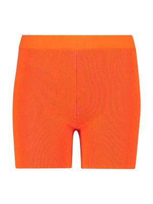 Оранжевые короткие шорты из вискозы байкерские Jacquemus