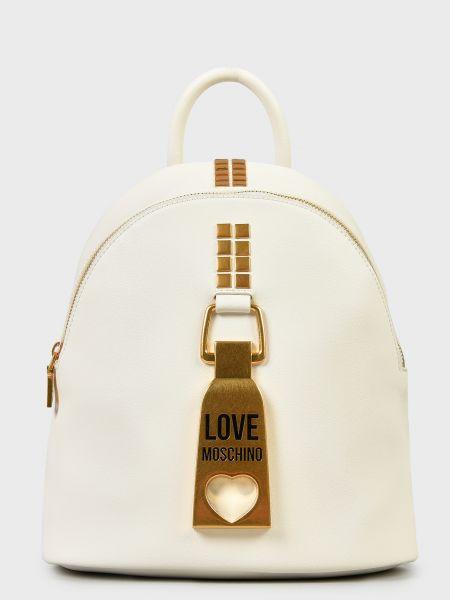 Кожаный рюкзак - белый Love Moschino