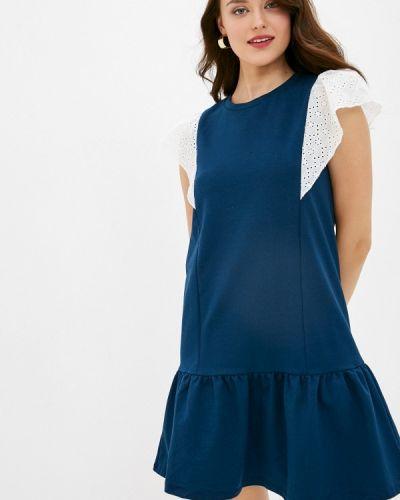 Прямое синее платье Trendyol