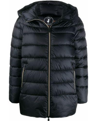 Нейлоновая черная куртка с капюшоном с карманами с длинными рукавами Save The Duck