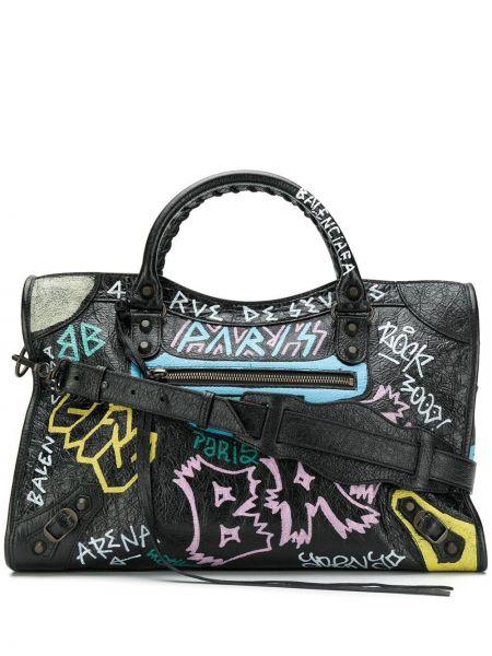 Skórzana torebka crossbody czarna Balenciaga