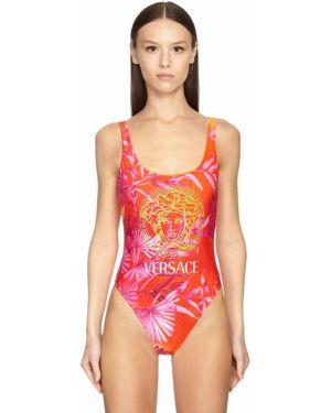 Костюмный плюшевый лаковый слитный купальник на бретелях Versace