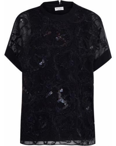 Блузка с пайетками с цветочным принтом Brunello Cucinelli