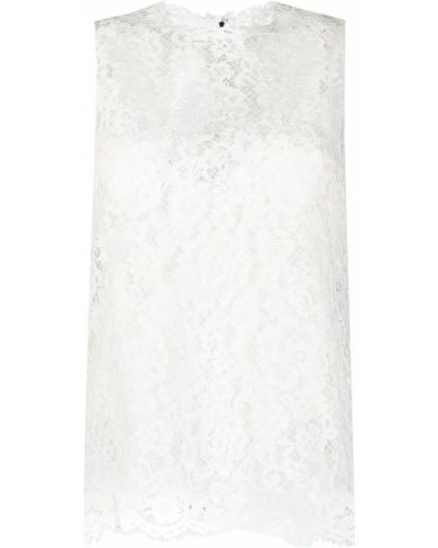 Кружевная шелковая белая блузка Dolce & Gabbana