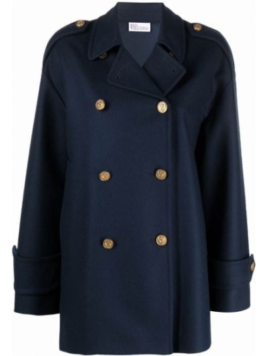 Синее шерстяное пальто Red Valentino