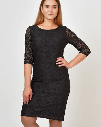 Коктейльное платье осеннее черное Kontaly