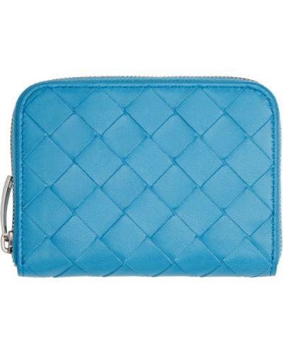 Текстильный синий кошелек для монет с тиснением Bottega Veneta