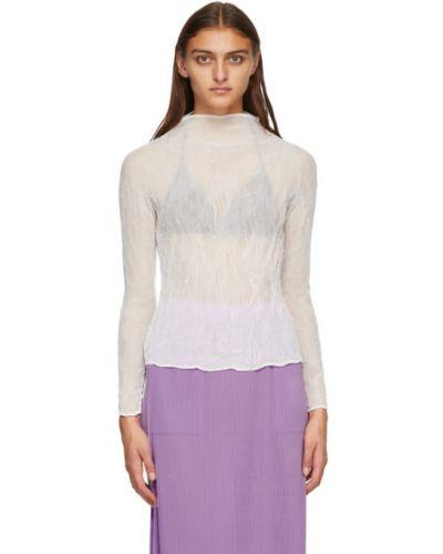 Белая плиссированная шифоновая блузка с длинным рукавом с воротником Issey Miyake