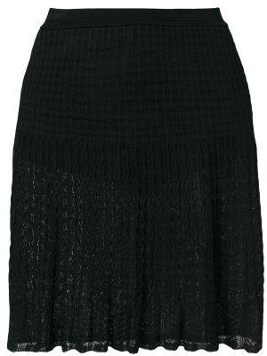 Черная ажурная юбка миди винтажная в рубчик Alaïa Pre-owned