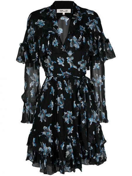 Czarna sukienka długa z długimi rękawami z wiskozy Dvf Diane Von Furstenberg