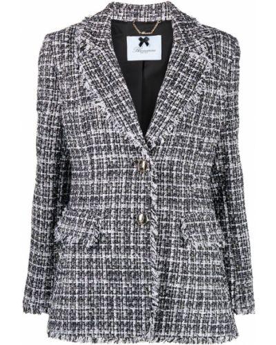 Черный удлиненный пиджак твидовый на пуговицах Blumarine