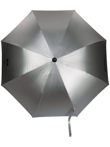 Parasol srebrny z printem Karl Lagerfeld