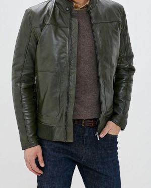 Кожаная куртка осенняя зеленая Cortefiel