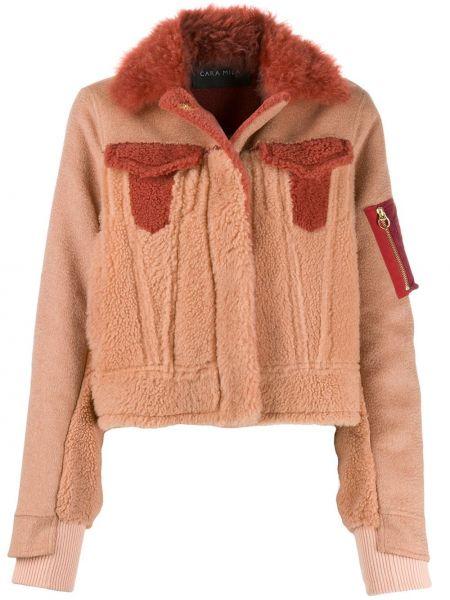 Коричневая куртка с манжетами на молнии с воротником Cara Mila