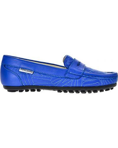 Мокасины синие Moschino