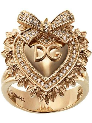 Золотистое кольцо с бриллиантом золотое Dolce & Gabbana