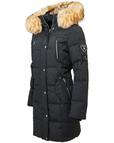 Czarna kurtka puchowa z futerkiem Rockandblue