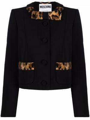 Шелковый черный удлиненный пиджак круглый Moschino