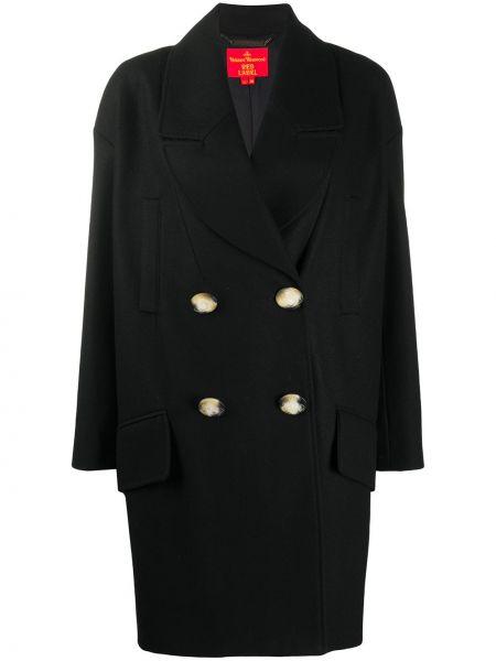 Шерстяное черное длинное пальто на пуговицах Vivienne Westwood Red Label