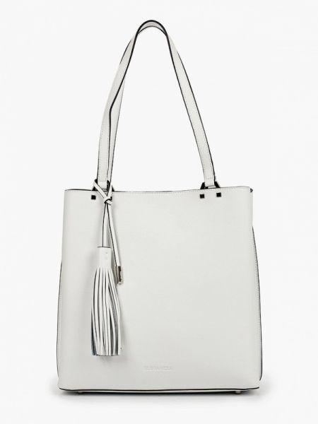 Белая кожаная сумка из натуральной кожи Eleganzza