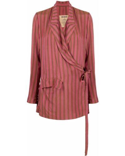 Розовый удлиненный пиджак с запахом в полоску Uma Wang