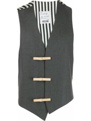 Серый шерстяной пиджак винтажный без рукавов Moschino Pre-owned