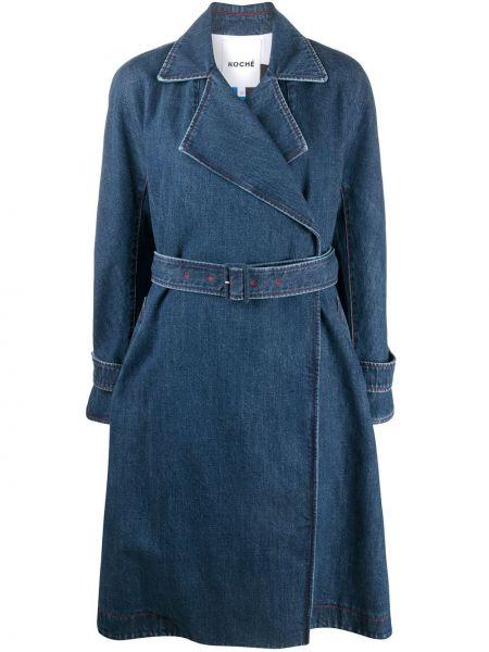 Хлопковое синее длинное пальто с воротником Koché
