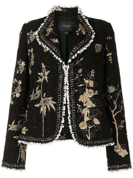 Хлопковый черный удлиненный пиджак с вышивкой Giambattista Valli
