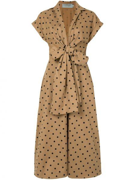 Коричневое расклешенное платье миди с V-образным вырезом с короткими рукавами Silvia Tcherassi
