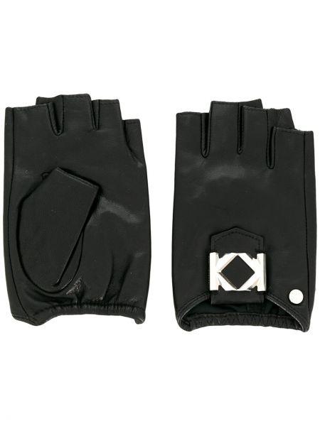 Черные кожаные перчатки эластичные с пряжкой Karl Lagerfeld