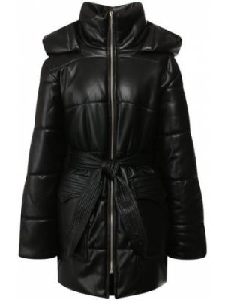 Кожаная куртка с капюшоном утепленная Nanushka