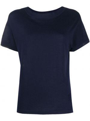 Синяя кашемировая прямая рубашка с коротким рукавом круглая Barrie