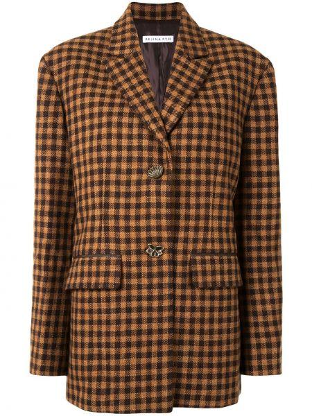 Коричневый удлиненный пиджак в клетку с воротником Rejina Pyo