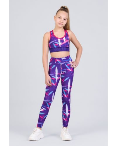 Фиолетовые леггинсы для бега эластичные Zironka