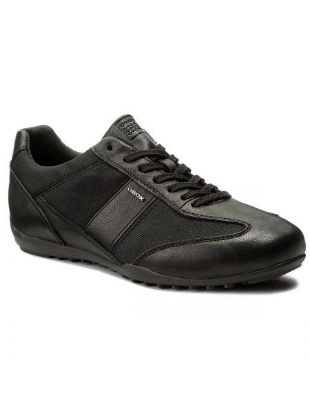 Skórzany sneakersy sztuczna skóra czarny Geox