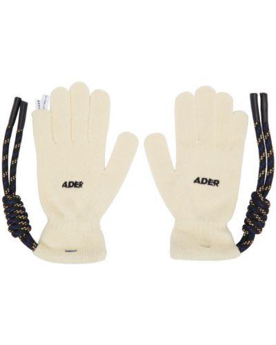 Biały włókienniczy rękawiczki z mankietami z haftem Ader Error