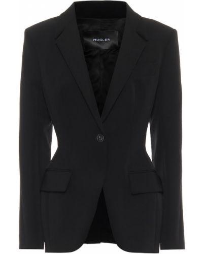 Черный пиджак стрейч Mugler