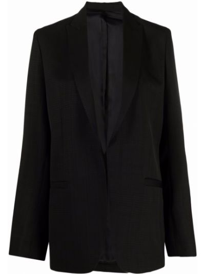 Однобортный черный удлиненный пиджак в клетку Toteme