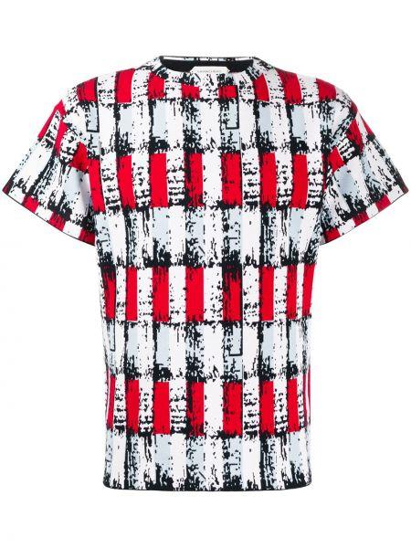 Прямая белая футболка из вискозы с круглым вырезом Namacheko