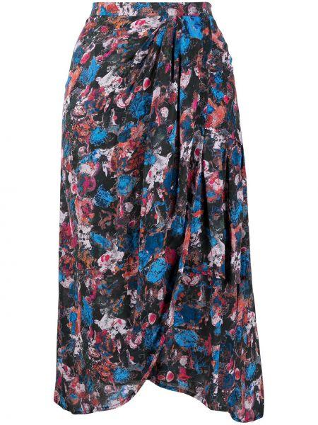 Асимметричная черная с завышенной талией юбка миди Iro