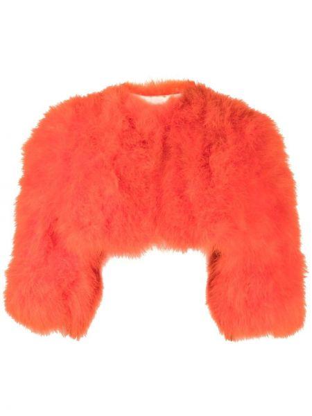 Оранжевый шелковый пиджак с перьями Yves Salomon