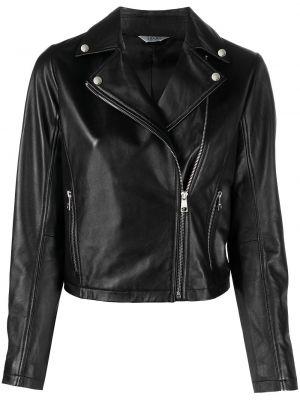 Черная кожаная куртка на молнии Liu Jo