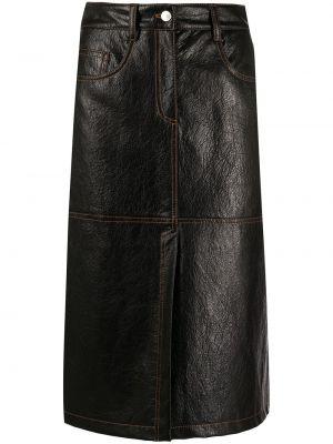 Кожаная юбка - черная Msgm