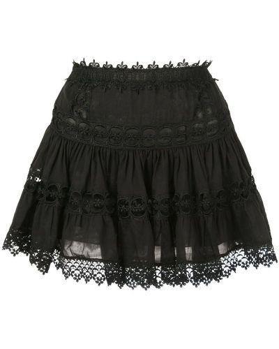 Плиссированная черная ажурная юбка мини Charo Ruiz