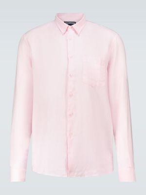 Różowa koszula z haftem z długimi rękawami Vilebrequin