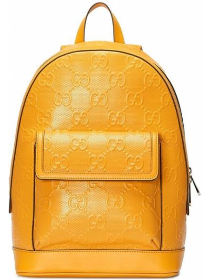Plecak skórzany - żółty Gucci
