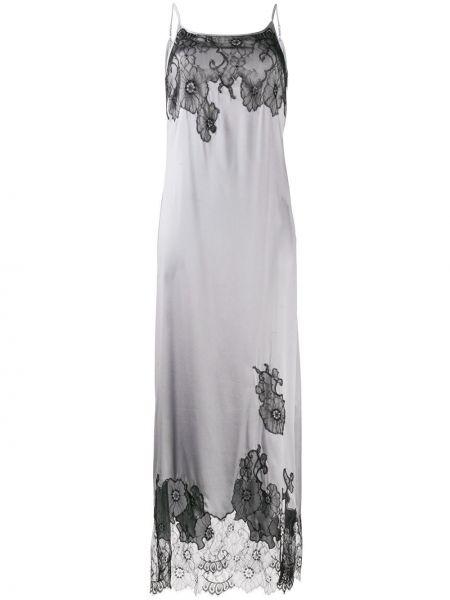 Серебряное ажурное платье на бретелях с вырезом Myla